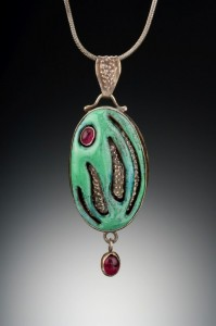 Sterling, enamel on copper, garnets - $425
