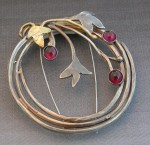 Wreath pin, sterling, 14k, garnets - $325