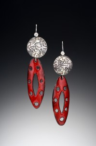 Red enamel and etched silver earrings $200