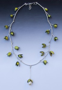 Green enamel leaves necklace - $1500